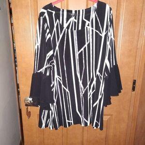 Alfani 2x tunic sheer bell sleeve black white